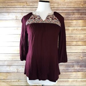 Anthropologie One September Red Nightingale Blouse
